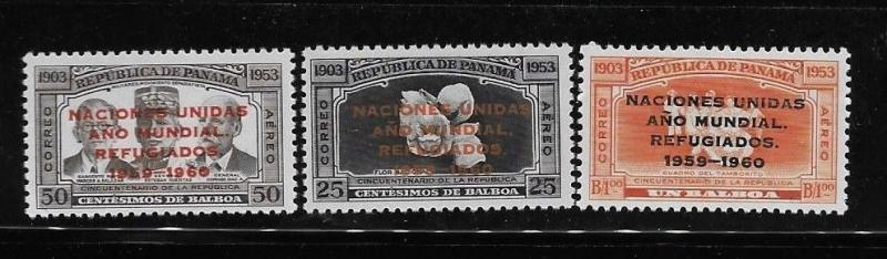 Panama 1960 World Refugee Year Overprinted Sc C227-229 MNH A1102