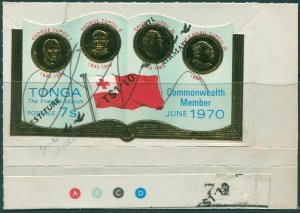 Tonga 1970 SG316 7s Rulers and FLAG with 1p.10 Airmail ovpt from SGO72 pen cance