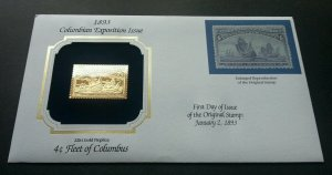 USA Fleet Of Columbus (stamp with cover) MNH *22k gold FDC?