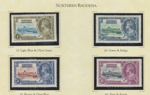NORTHERN RHODESIA, 1935 Silver Jubilee set of 4, lhm.