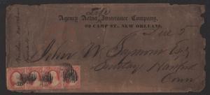 $US Sc#11a ADV. cover scarce strip of 4, 2oz. prepaid Due 5
