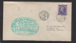 Canada 1953 Saskatoon Exhibition Industrial Exhibition green cachet cover #1