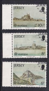 Jersey   #187-189  used  1978  Europa  Castles from paintings