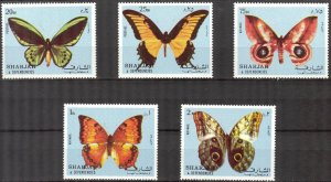 Sharjah MNH Set Of 5 Butterflies Insects 1972