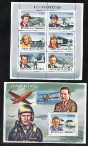 Comoro Is. 1048-49  MNH The Aviators Souvenir Sheets from 2008