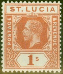 St Lucia 1920 1s Orange-Brown SG86 Fine MNH
