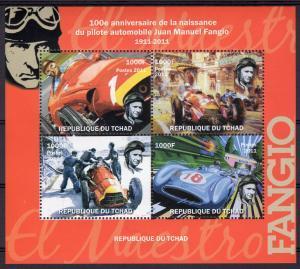 Chad 2011 FANGIO FORMULA 1 Sheet (4) Perforated Mint (NH)