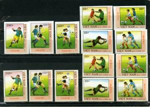 VIET NAM 1989 SOCCER WORLD CUP ITALY 2 SETS OF 7 STAMPS PERF. & IMPERF.  MNH