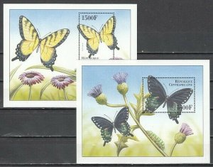 Central Africa, Scott cat. 1299-1300. 2 Butterfly s/sheets. *