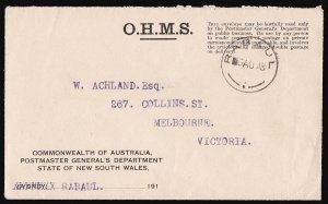 NEW GUINEA NWPI 1918 OHMS PO NSW envelope to Australia