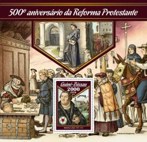 Guinea-Bissau 2017 MNH Martin Luther Reformation 500th Anniv 1v S/S Stamps