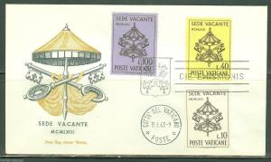 VATICAN CITY 1963 POPE JOHN XXIII SEDE VACANTE ROMA FIRST DAY COVER