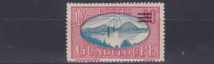 FRENCH COLONIES GUADELOUPE   1943 - 44  1F ON 90C  BLUE & ROSE    MH