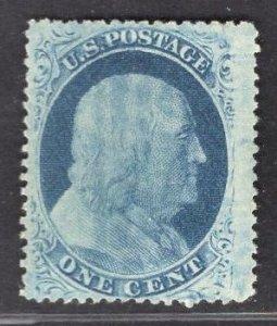 US Stamp#24 1c Blue Franklin Type V USED SCV $ $37.50