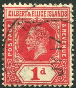 GILBERT & ELLICE ISLANDS-1915 1d Scarlet Sg 13a FINE USED V34658