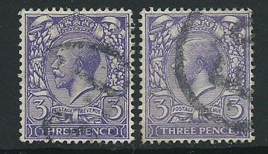 GB George V  SG 375  Used  x2 shades