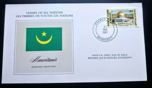 """V.RARE MAURITANIA PALESTINE SUPPORT """"STAMPS OF ALL NATIONS"""" 1ST DAY EVENT CARD"""