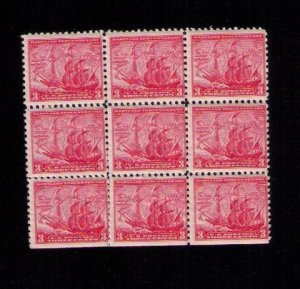 US Sc 736 MNH Zip Block Of (9) Nine F-VF