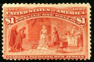 #241 Mint $1 Columbian A/F OG Hinged   ⭐⭐⭐⭐⭐
