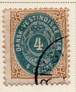 Danish West Indies Sc 7 1874 4c brown & dull blue stamp used