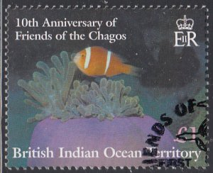 BIOT 2001 used Sc #253 1pd Reef fish Friends of the Chagos 10th ann