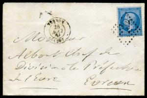 FRANCE VERNON CANCEL 28 AOUT 1864 20 centimes PERF STAMP ON COVER TO EVRUEUX