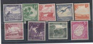 NAURU (MM203) # 39-47  VF-MH  VARp,sh 1954 ISLAND SCENES STAMPS CV $18