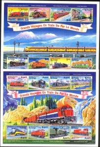 Congo 2001 Trains 2 sheets  MNH