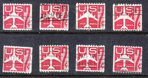 1960 Airmail Sc C61 used singles lot of 8