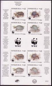 Venezuela WWF Red-footed Tortoise and River Turtle Imperforated Sheetlet of 2