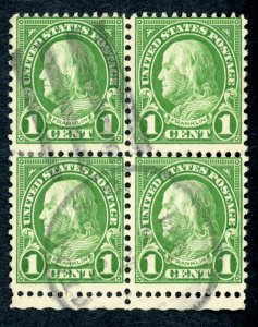 #632 – 1926-28 1c Franklin, green. Used block of 4.