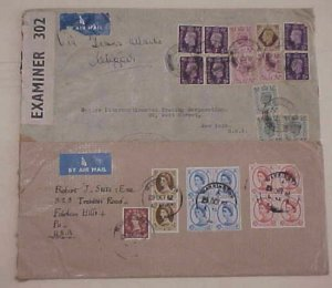 GREAT BRITAIN  10 or MORE STAMPS ON EACH OF 2 COVERS 1941 CENSORED 1961