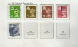 GB 1991-1999 WALES MACHINS ISSUED USED, 4-5 PAGES