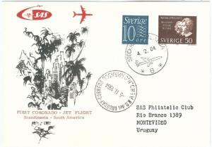 72154 - Postal History - FIRST FLIGHT: SWEDEN to South America via URUGUAY !