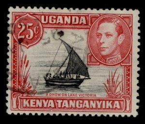 KENYA UGANDA TANGANYIKA  SG140, 25c black and carmine-red, FINE USED.