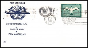 UN New York to Port of Spain,Trinidad Pan American 1960 First Jet Flight Cover