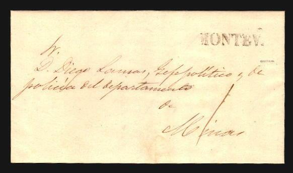 Uruguay 1853 PREPHILATELIC COVER MONTEV. IN BLACK R SIGNED CIARDI