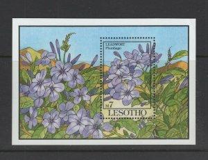 Lesotho  #957 (1993 Leadwort  Flowers sheet) VFMNH CV $5.75