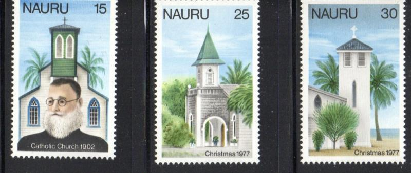 Nauru Sc 156-8 1977 Christmas & Catholic Church stamp set mint NH