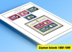 COLOR PRINTED CAYMAN ISLANDS 1900-1999 STAMP ALBUM PAGES (100 illustrated pages)