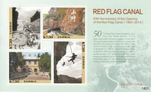 Zambia 2014 MNH Red Flag Canal 50th Anniv 4v M/S Architecture Tourism Stamps