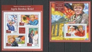 ST1463 2015 S. TOME & PRINCIPE CHANCELLER OF GERMANY ANGELA MERKEL KB+BL MNH