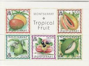 Montserrat - Fruits - 5 Stamp  Sheet  - 13M-004