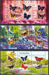 {g153} Congo Malawi 2012 2013 Butterflies 3 sh. Used / CTO Cinderella