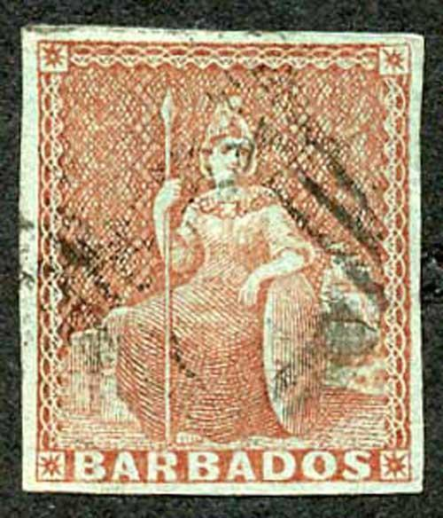 BARBADOS SG5 1852 4d Brownish Red on Blued Paper Four Margins Cat 275