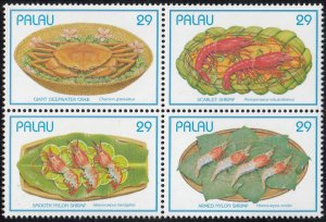 Palau 1993 MNH Sc 314 Block of 4 29c Seafood dishes