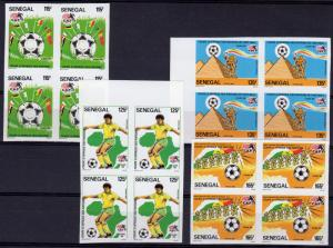 Senegal 1986 Sc#672/75 Africa Football Cup Set (4) IMPERFORATED .Block of 4 MNH