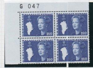 Greenland Sc 124 1980 1.6 kr Queen corner block of 4 mint NH