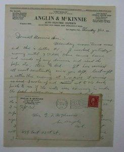 US Sc# 423c or 463 On Cover Taft CA 1916 Flag Cancel Anglin Mckinnie Letterhead