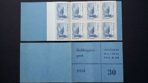 H119 Sweden 1958 Scott# 520a C/V 20$ MNH booklet helicopter post aviation